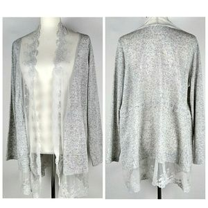 Linen & Lace Open Front Cardigan